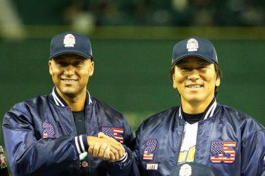 Derek Jeter and Hideki Matsui at the charity baseball game in Tokyo.